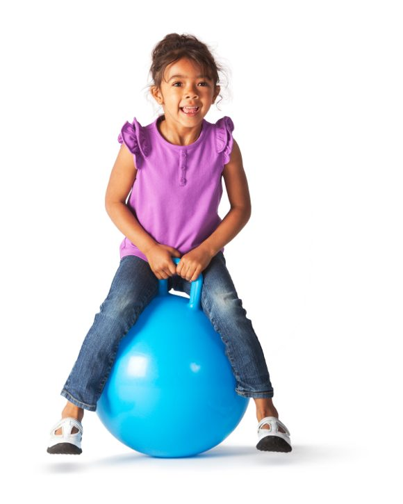 girl on excercise ball